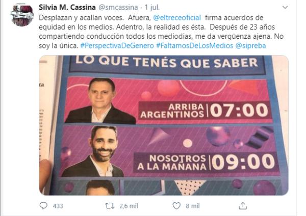 Foto tomada de la cuenta de twitter de Silvia M. Cassina